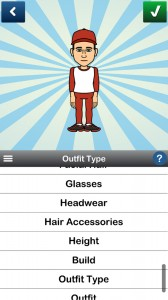 The main Bitstrips app avatar design menu.