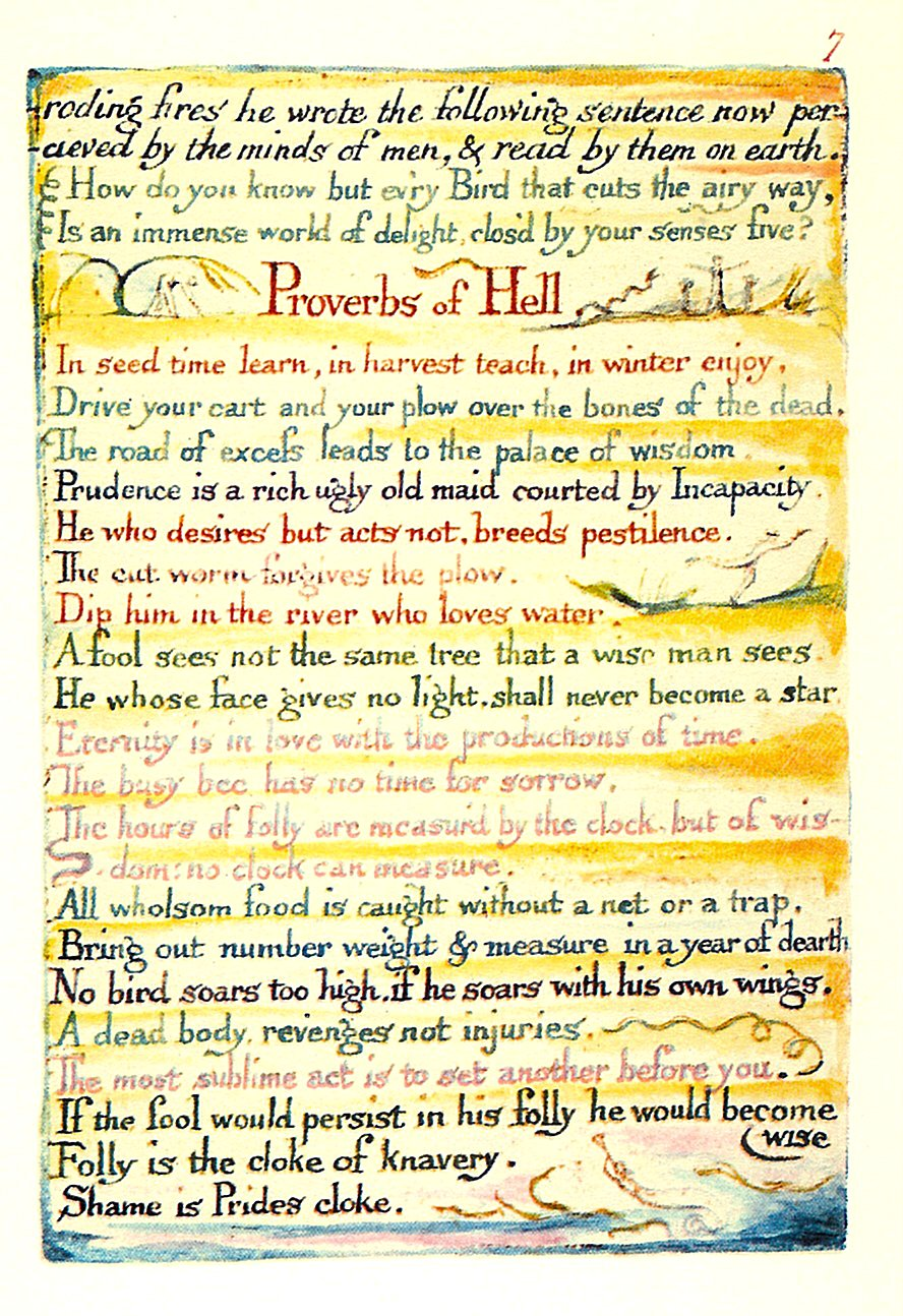 The referenced, painted page of William Blake's Proverbs of Hell, from his book The Marriage of Heaven and Hell