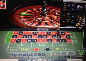 A game of online roulette in progress.