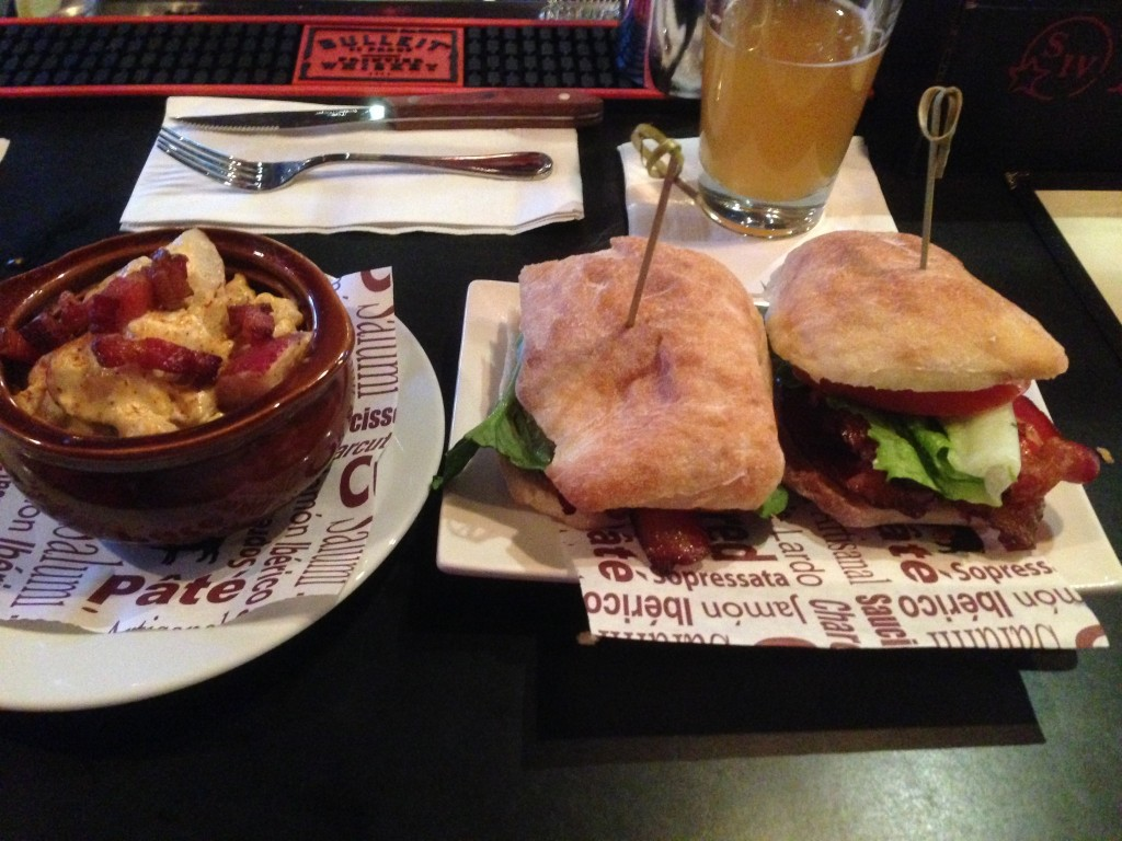 The BLT with a side of bacon potato salad. Note: sides do cost extra & are not included with all sandwiches.
