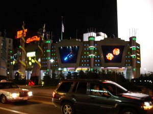 The flashy exterior of the Sands Atlantic City at night.