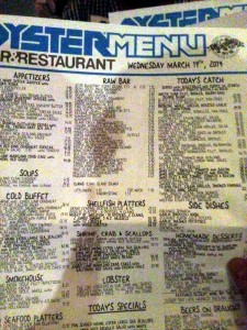 The massive menu.