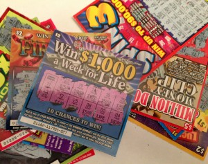 scracthed off lottery tickets